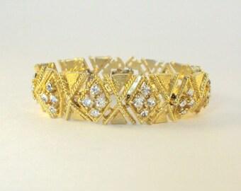 Designer Bracelet, Rhinestones, Gold Plate, Vintage, Lisner