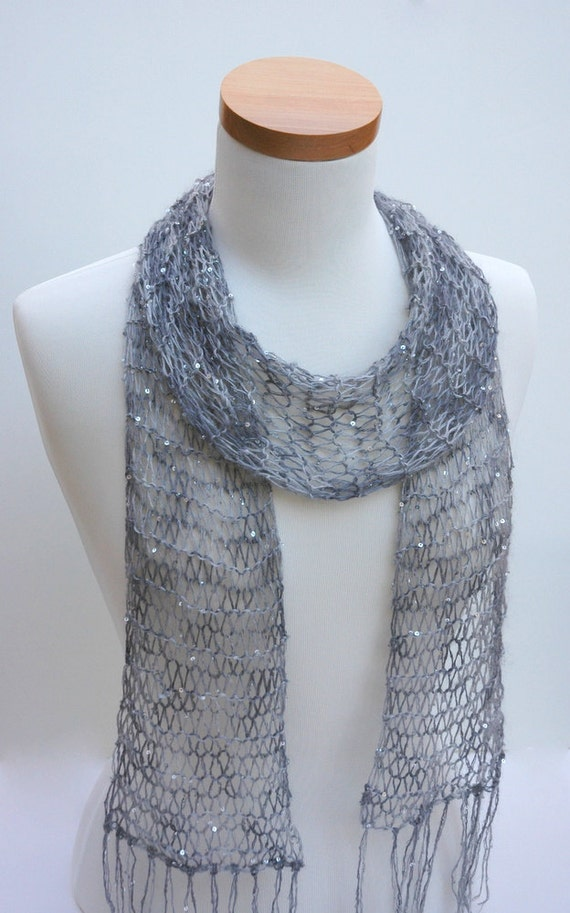 Silk & Mohair Scarf- Hand Knit/ Beaded/ Sequins/ Gray