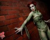 Steel boned zombie queen green bandage corset