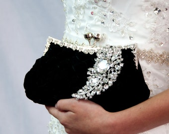 Bridal black Clutch - satin purse w/  Swarovski big Crystal feather brooch - made to order