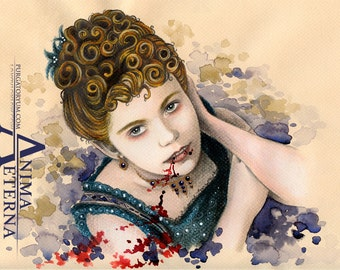 """Ma belle Claudia - Interview with the Vampire Traditional Art  Watercolor Painting - Fine Art Print 15x20cm (5.9""""x7.8"""") - Hand Signed"""