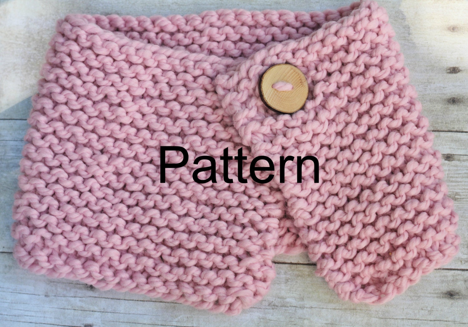 Knitting Pattern Chunky Button Cowl Neck Warmer Size by PropShop