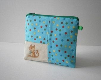 Medium zippered illustration applique coin purse
