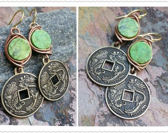 30 off BLOWOUT SALE, Dragon Coins,Turquoise, Brass, and Copper Earrigns, ThePurpleLilyDesigns