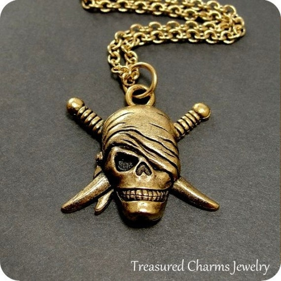 Pirate Skull and Swords Necklace, Gold Pirate Skull Charm on a Gold Cable Chain