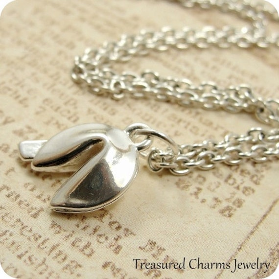 Fortune Cookie Necklace, Fortune Cookie Charm on a Silver Cable Chain