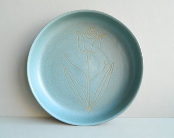 Martz Marshall Studios Shallow Stoneware Blue Bowl with Incised Flower