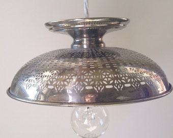 Vintage Stainless Pedestal  Bowl Pendant Light