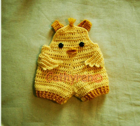 Baby Chick Overall Shorts, Buttons at Legs for Easy Change - Instant Downloadable Crochet Pattern