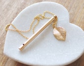 Gold Whistle Necklace. Pendant Necklace. Musical Necklace. Leaf Pendant.