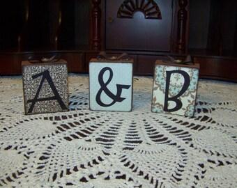 A & B Decorative Wooden Block Set Handmade
