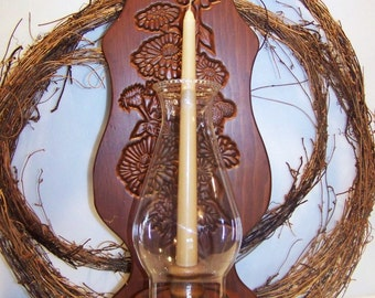 Vintage 70's Large Wooden Wall Sconce with Hurricane Shade for Taper Candle