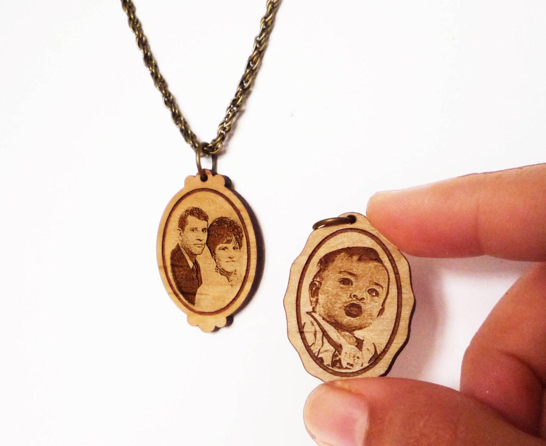 portrait necklace custom engraving