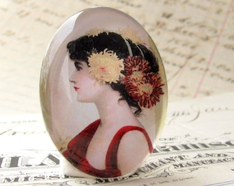 Flowers in her Hair. 40x30 40x30mm 30x40mm 40 30 mm handmade glass oval cabochon, woman profile, Marsala red dress, black, yellow, white