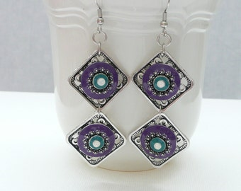 nd-Purple, Turquoise, and Silver Double Diamond Dangle Earrings