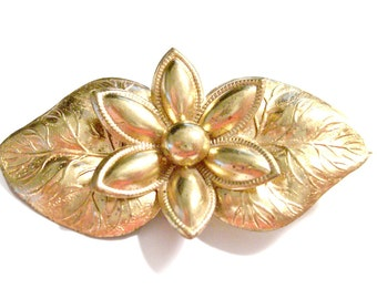 1910s C Clasp, Stamped Edwardian Gold one Brooch, Late Victorian Era Vintage Brooch, Flower and Leaves Motif, VisionsOfOlde