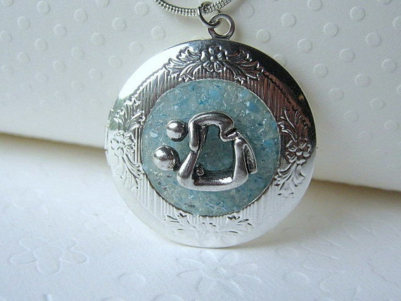 Mothers Day Gift, Picture Locket, New Mom Jewelry, Mother Son Necklace, Baby Blue Locket, Photo Locket