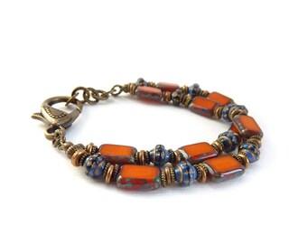 Orange Beaded Bracelet - Cobalt Navy Blue Multistrand Bracelet - Picasso Czech Glass - Handmade Bohemian Bracelet