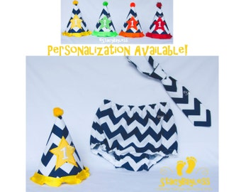 Navy Chevron with Yellow Accent Cake Smash Outfit includes Hat, Diaper Cover, and Necktie for First Birthday - by StacyBayless