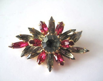 Rhinestone Brooch with Fuchsia and Green Stones Estate Jewelry