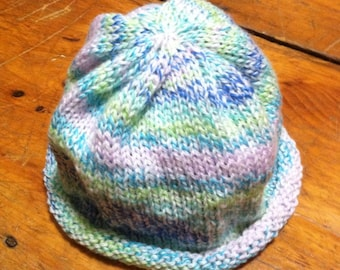 Light weight blues greens and purples winter beanie