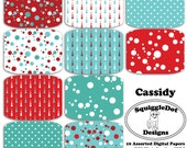 Digital Printable Paper for Cards, Crafts, Art and Scrapbooking Set of 10 - Cassidy - Instant Download