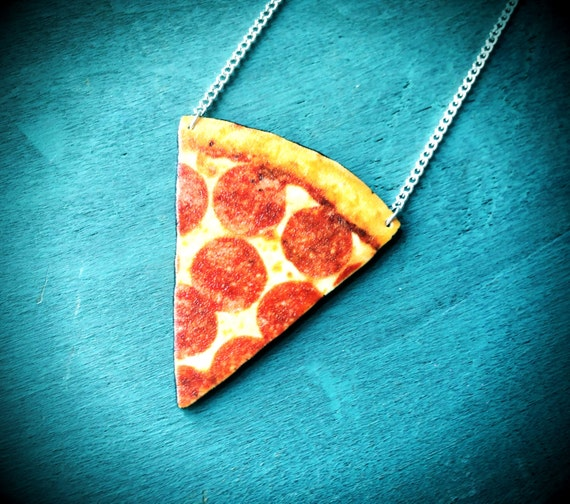 Pizza slice charm necklace with silver plated chain Cheese Pizza Fast Food Jewelry