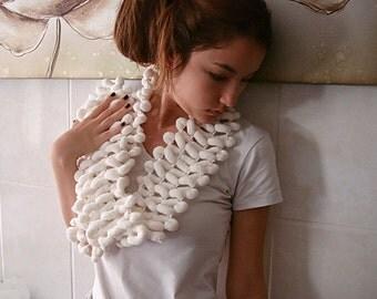 Christmas sale White crochet  pompom scarf