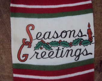 Vintage 1950s Red and Green Season's Greetings Christmas Stocking