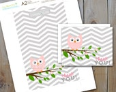 Owl Thank you Cards  / Pink Owl Grey Chevron / Instant Download / PRINTABLE /  7850