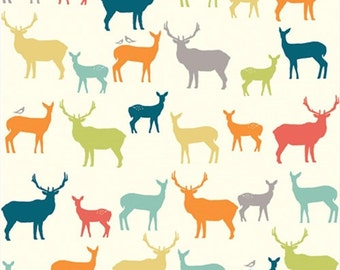KNIT Organic Cotton Fabric- Birch -Elk Family- multi - Great Shipping Rates