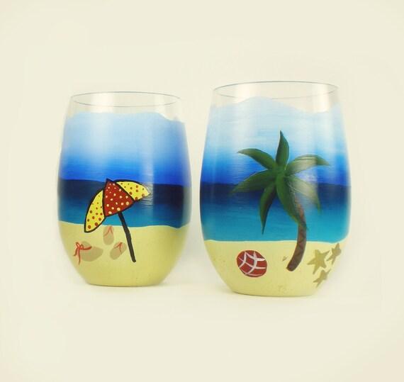 Hand painted beach stemless wine glasses acrylic set of 2 for Acrylic paint on wine glasses