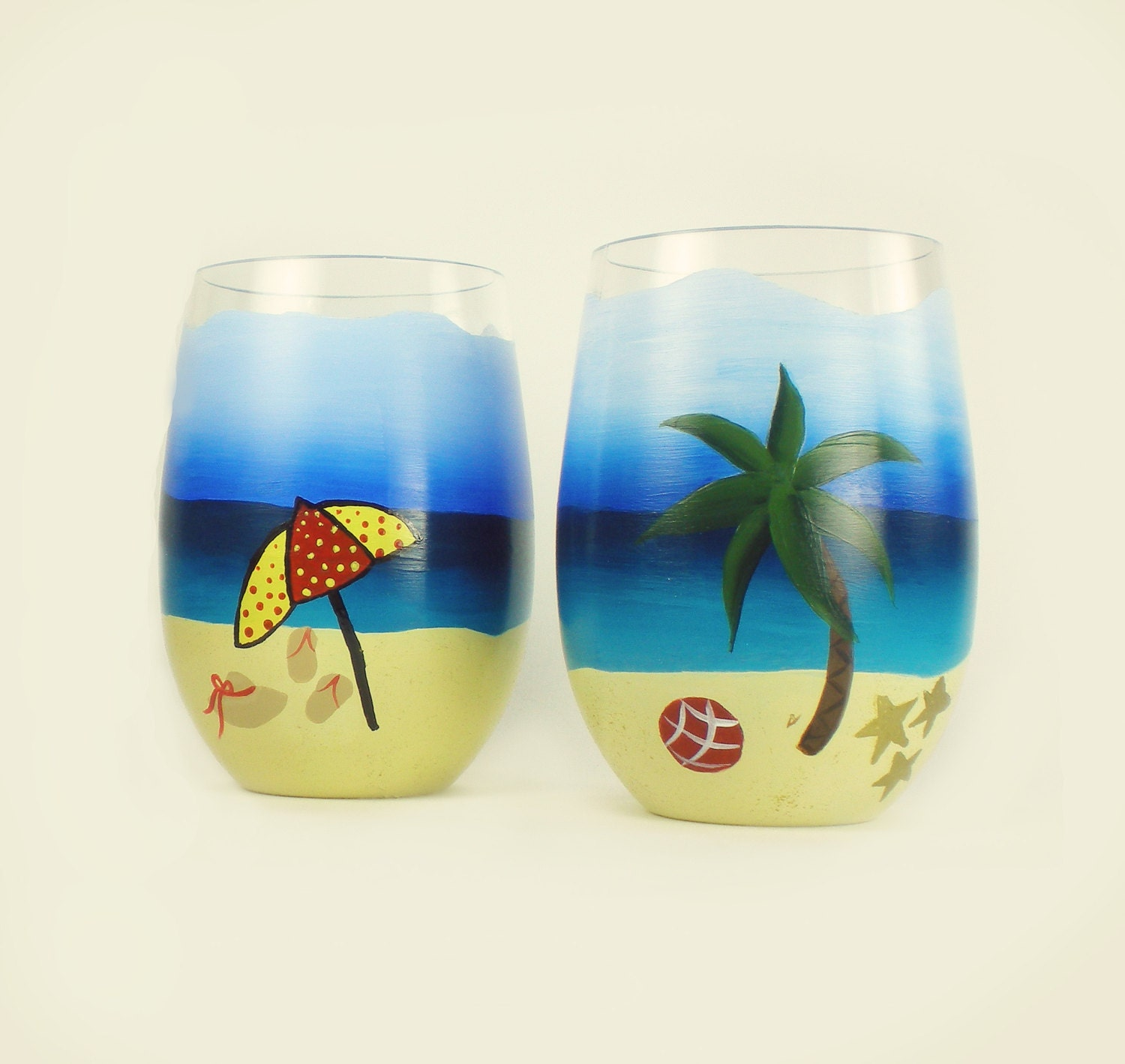 hand painted beach stemless wine glasses acrylic set of 2