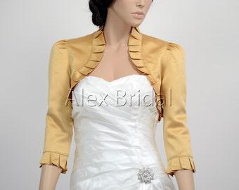 Gold 3/4 sleeve satin bolero wedding bolero jacket shrug