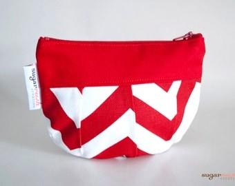 Lipstick Red Chevron Pleated Make Up Bag