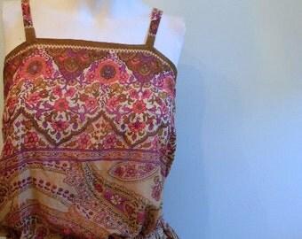 vintage. 70s Indian Gauze Cotton Dress Set  / Two Piece Set /  S M