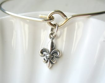Fleur de Lys Bangle Bracelet  - Fleur de Lis - Sterling Silver Bangle - Stacking Bracelet