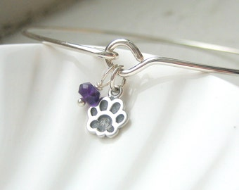 Tiny Paw Print and Birthstone Bangle Bracelet  - Dog Pawprint - Cat Paw Print - Sterling Silver Bangle - Stacking Bracelet