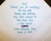 Custom Embroidered Father of the Bride Wedding Hankerchief Choose Thread colors and Design Personalized FOB Handkerchief Keepsake Gift
