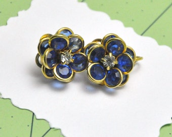 Vintage Avon Earrings Blue Swarovski Crystal Flower