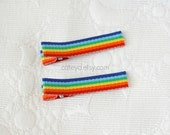 Pair of Rainbow Hair Clips-Non-Slip Grips Included