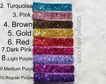 6 Glitter Hair Clips - Colors YOU CHOOSE