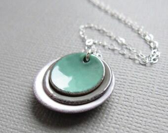Mint Green Gray White Enamel Necklace Modern Minimalist Sterling Silver