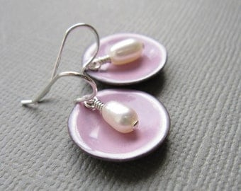 Pink Enamel White Pearl Modern Minimalist Circle Earrings