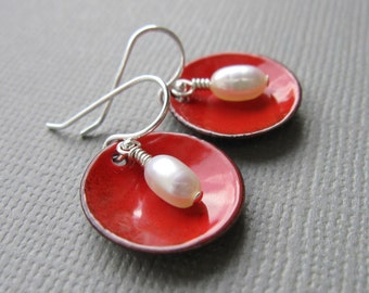 Cherry Red Earrings Enamel White Pearl Modern Minimalist Circle