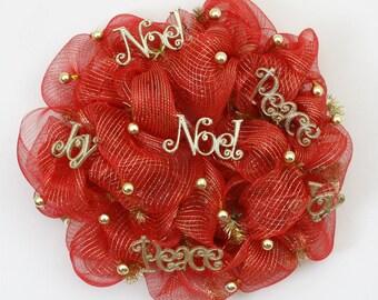 Peace Joy Noel Mesh  Wreath, Deco Mesh Christmas Wreath, Red and Gold Christmas Wreath