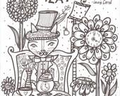 Coloring Book,  Wonderland inspired Coloring Book, Hippie kitties,  alice in wonderland, favorite Wonderland quotes, 12 page coloring book