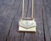 Floral Brass Envelope Locket with a Personalized Love Letter Engraved with your Message