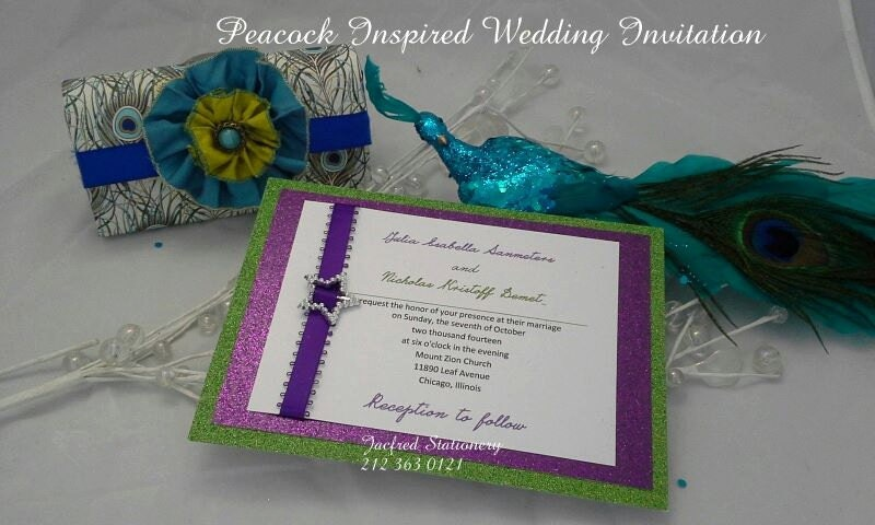 Peacock Wedding Invitations Template: Peacock Wedding Invitation 10 Invitation Sets