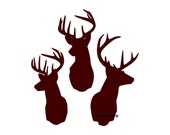 Three Deer Buck Heads Wall Decal Vinyl Wall Decals Wall Decor Vinyl Signage Wall Stickers Wall Quotes Deer Hunting Decals Deer Wall Decals